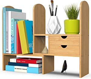Bamboo Desktop Bookshelf, Desk Storage Organizer Display Shelf Rack with 2 Drawers for Office Kitchen