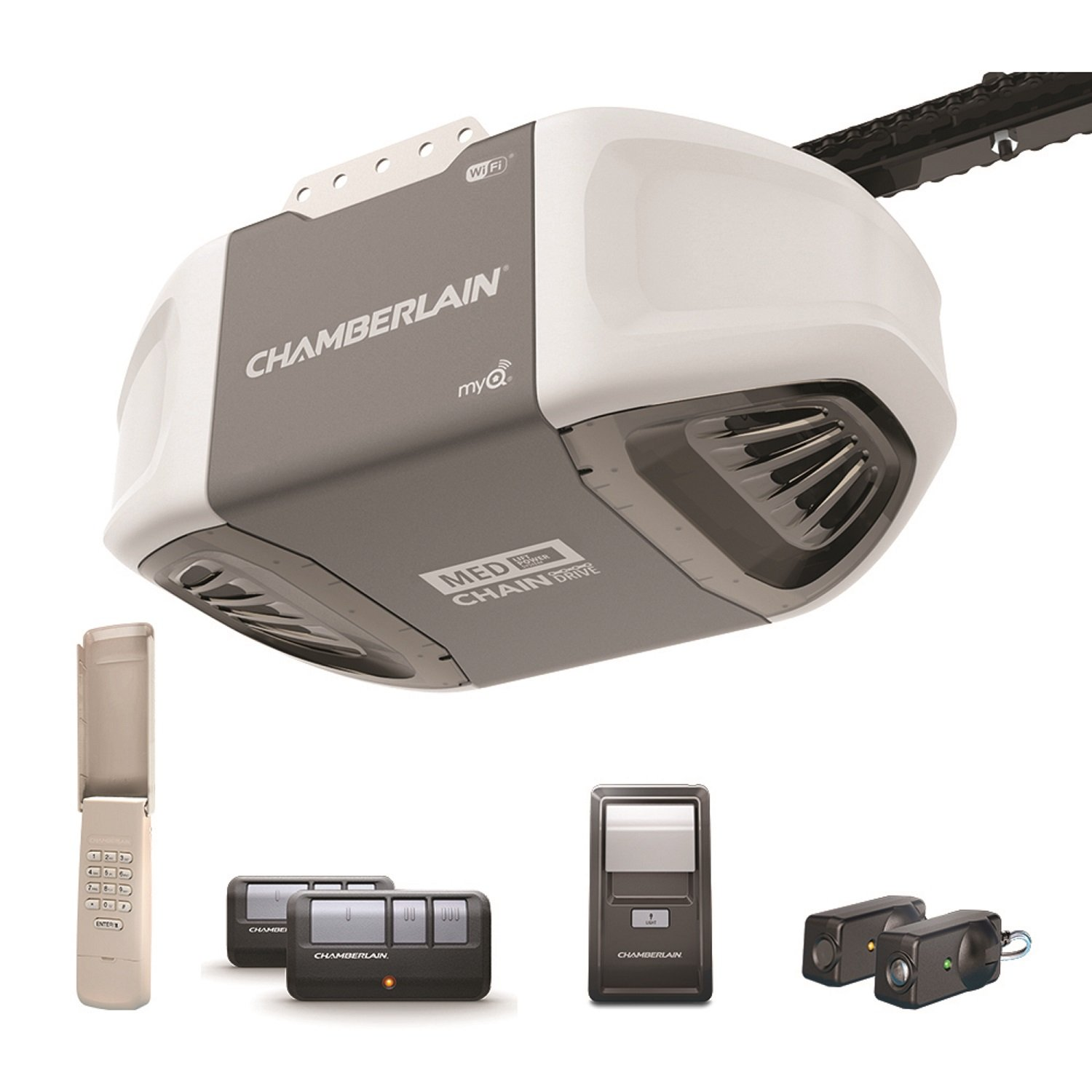 Chamberlain C450 Smartphone-Controlled Durable Chain Drive Garage Door Opener with Med Lifting Power, Pewter by Chamberlain