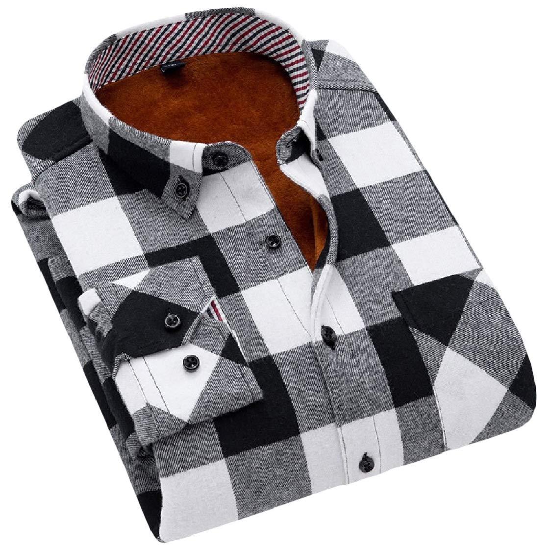 YUNY Men Fall Weinter Fit Thick Velvet Lapel Warm Plaid Work Flannel Shirt AS3 M