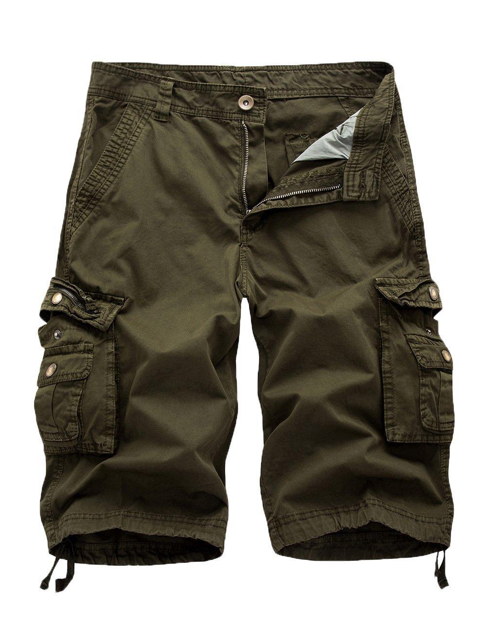 Women's Cotton Loose Fit Zipper Multi-Pockets Twill Bermuda Drawstring Cargo Shorts Green US 12