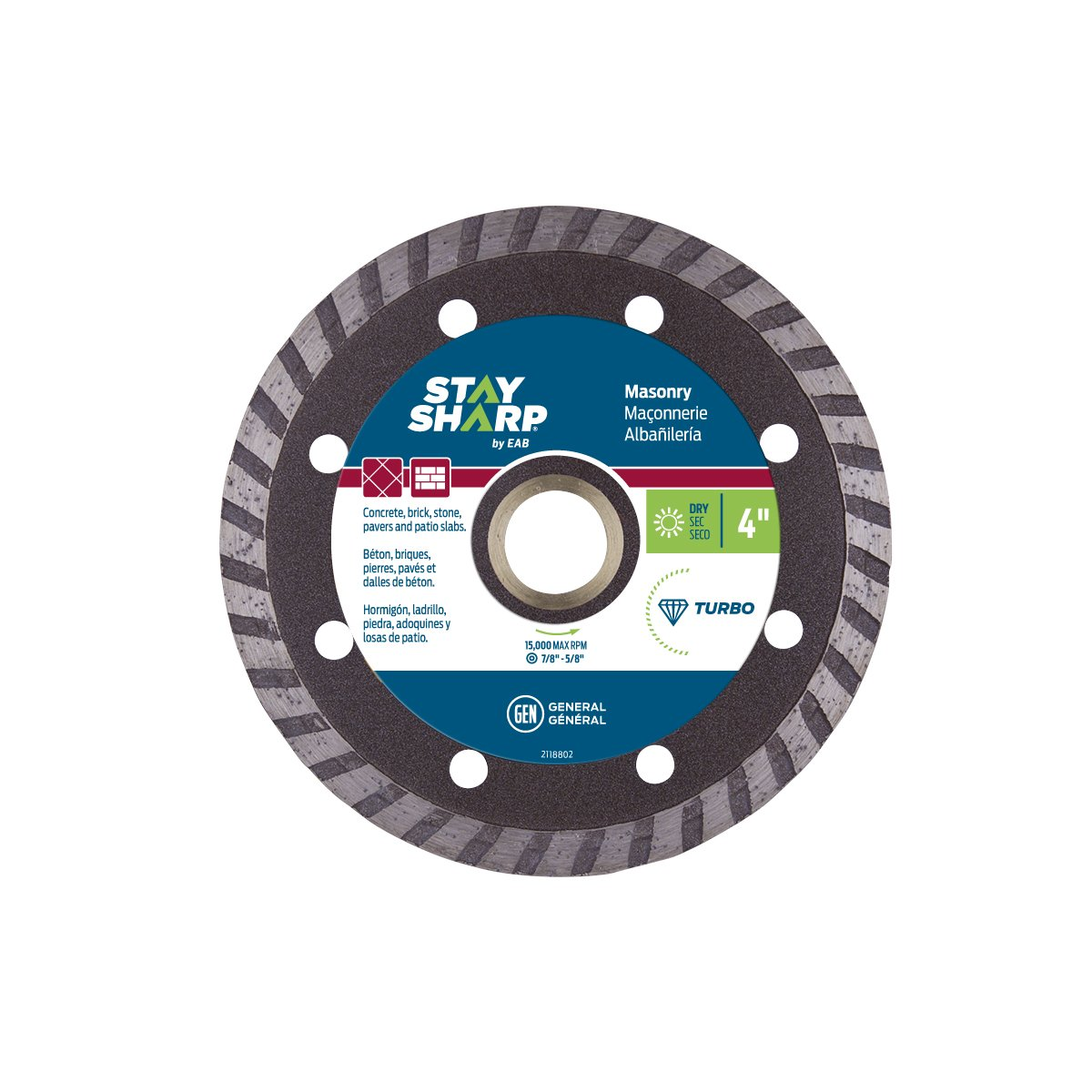 EAB Tool 2118802 4'' Turbo Bronze Diamond Blade - Recyclable,