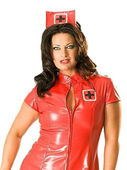 2a3b75600bd13 Honour Women's Sexy Nurse Dress Uniform in PVC Red Role Play Costume ...