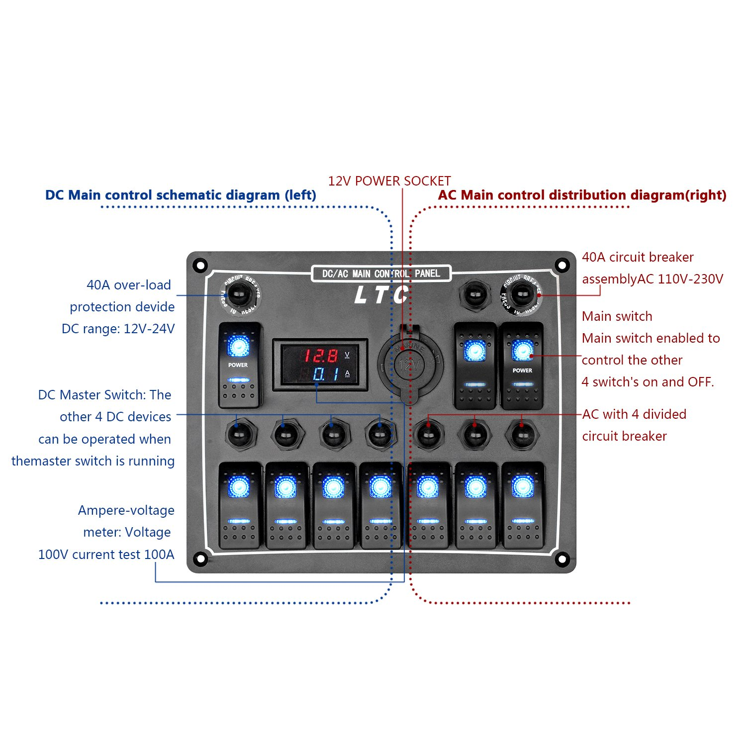 Leaningtech Waterproof Marine Boat Car Switch Panel 10 Wiring Diagram Free Picture Gang Led Rocker Blank Digital Voltmeter With Circuit Breakers Voltage