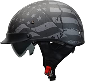 Vega Helmets Warrior Motorcycle Half Helmet with Sunshield for Men & Women, Adjustable Size Dial DOT Half Face Skull Cap for Bike Cruiser Chopper Moped Scooter ATV (X-Large, Patriotic Flag Graphic)