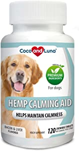 Coco and Luna Calming Treats for Dogs - Helps with Dog Anxiety, Separation, Barking, Stress Relief - Supports Calm & Relaxed Behavior -120 Natural Chew-able Tablets