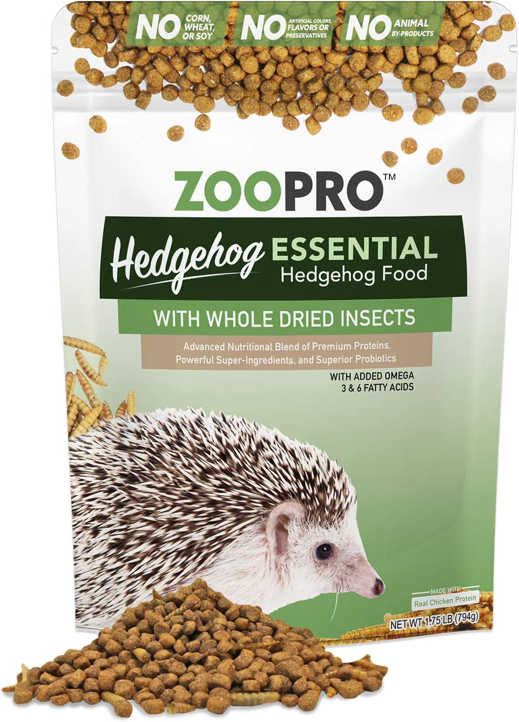 ZooPro Hedgehog Essential (5.25 lb.) - Healthy Balanced Hedgehog Food - High Protein Kibble with Mealworms and Black Soldier Fly Larvae - No Fillers, Additives, or Artificial Preservatives