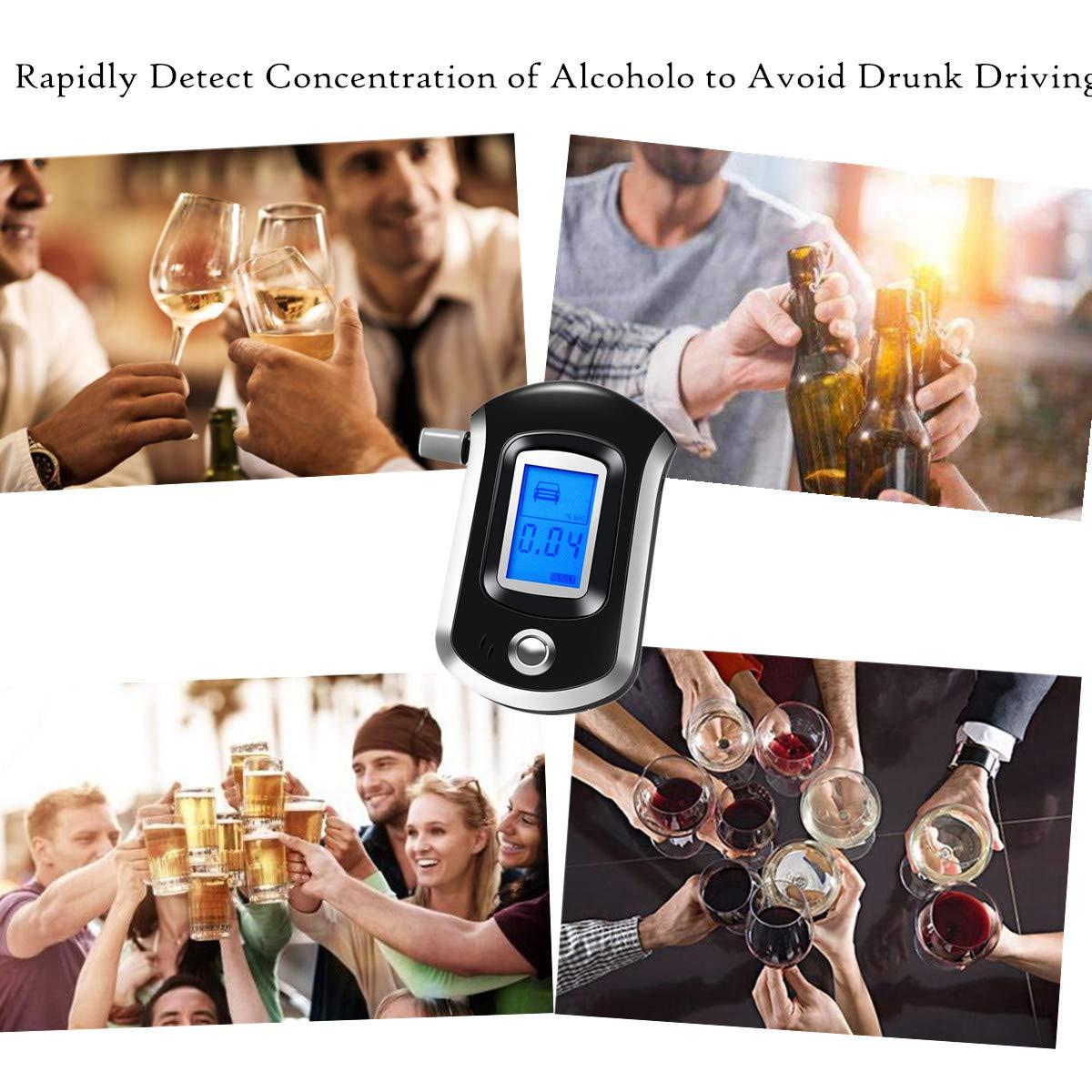 AnTom Alcohol/ímetro Probador port/átil Profesional del Alcohol de Digitaces del Sensor del semiconductor con 20 boquillas