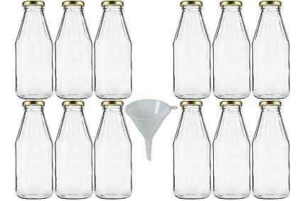mikken 12 x Cristal Botella 500 ML, con Rosca, Oro Incluye ...