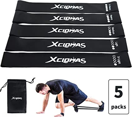 Exercise Resistance Loop Bands and Core Sliders Set For Women Men 5 Heavy Duty