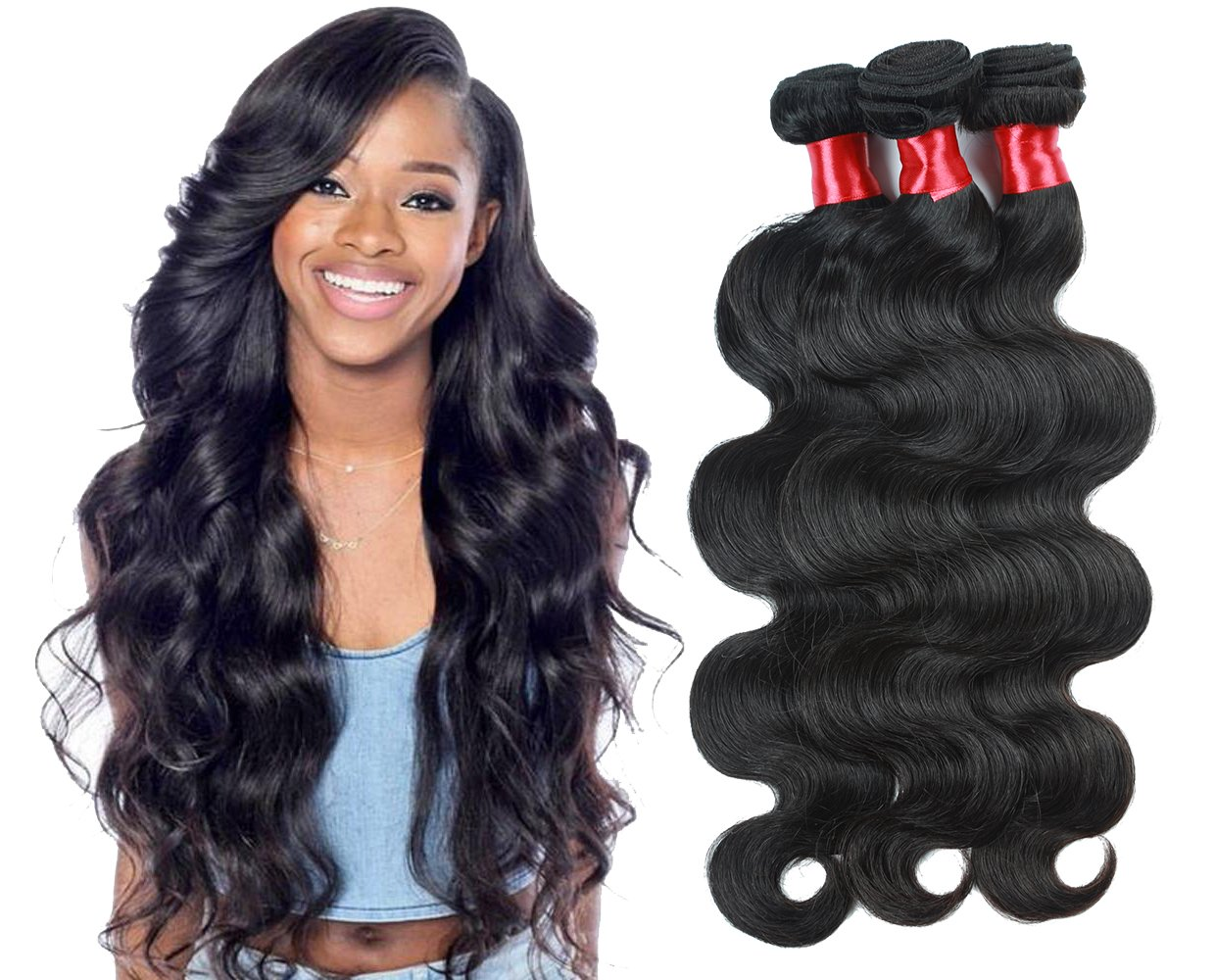 NICE QUEEN Brazilian Body Wave Huamn Hair 4 Bundles 8A Virgin Remy Human Hair Extensions Hair Human Bundles Weave Products(Body Wave,18 20 22 24 Inch)