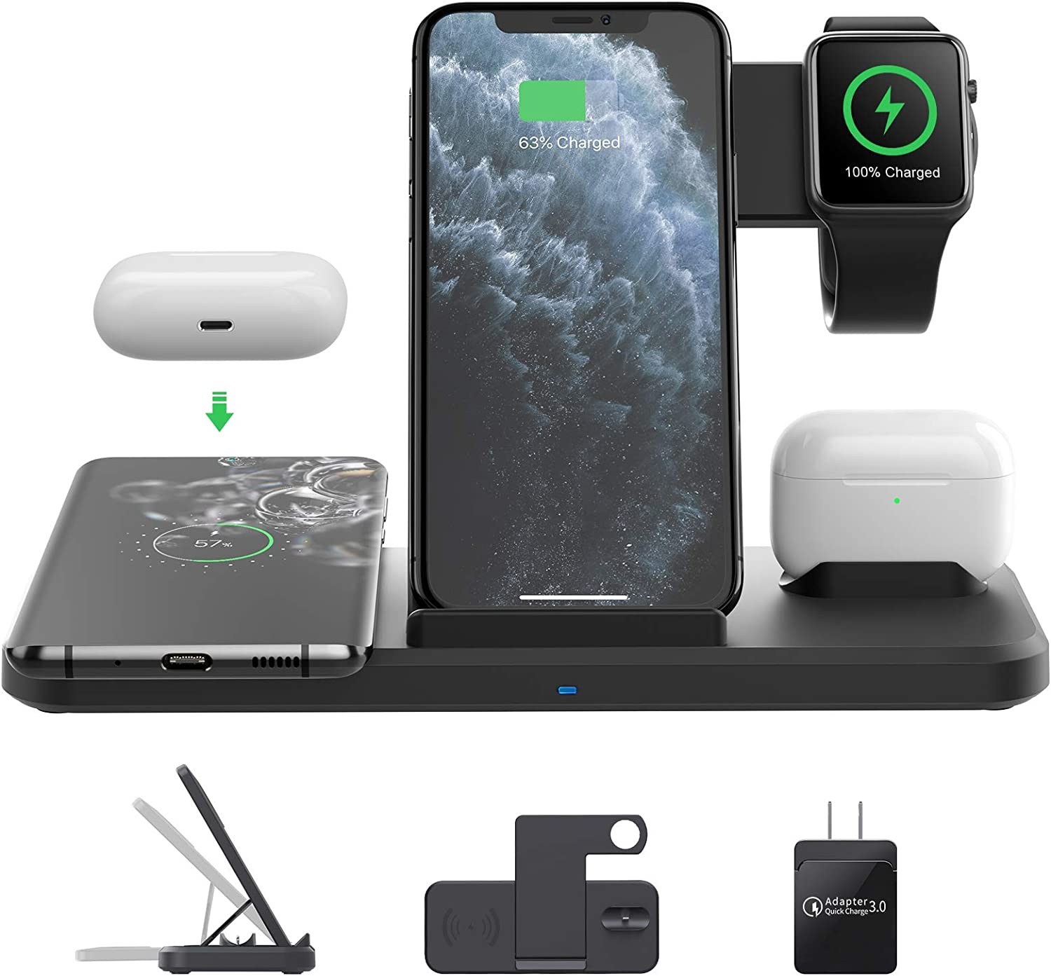 Wireless Charging Station with QC 3.0 Adapter(18 W), 4 in 1 Fast Wireless Charger Compatible with Apple Watch/Airpods,Wireless Charger Pad for iPhone 12 11 Pro/11/XS/XS Max/X/XR Samsung Android System