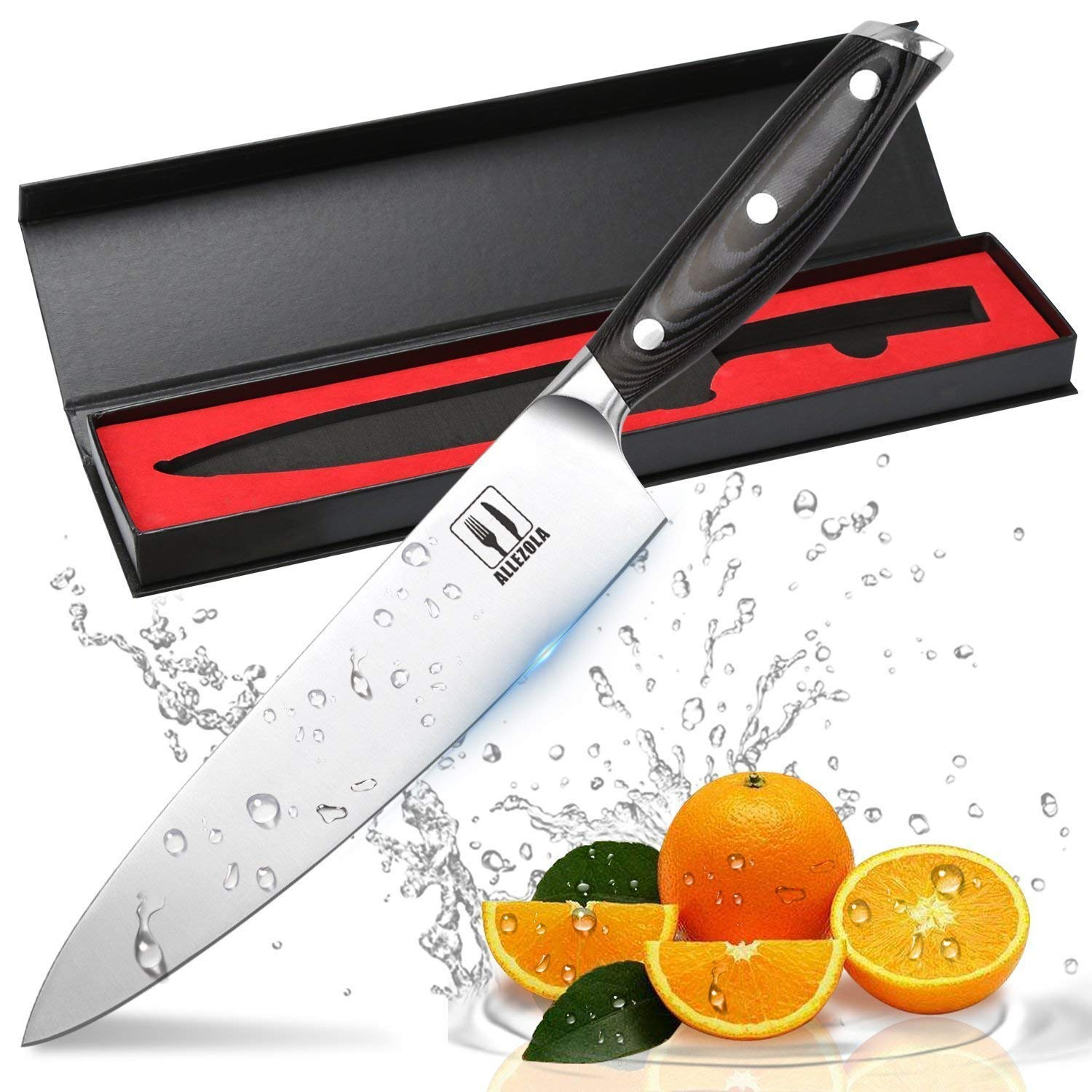 Professional Chef Knife Kitchen Knives 7.5 Inch Grilldom Professional 7.5 Inch German High Carbon Stainless Steel with Ergonomic Handle, Cooking knife ...