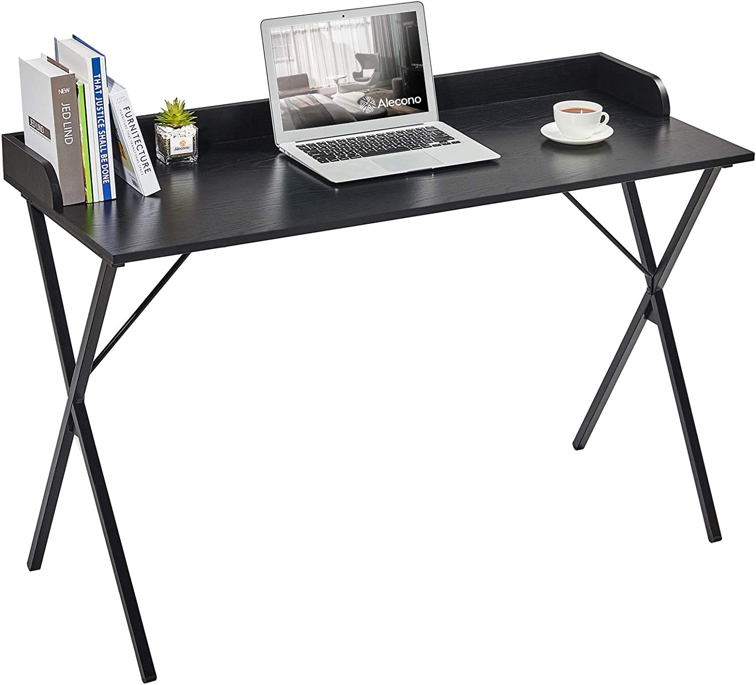 """Black Computer Desk, Alecono 47"""" Sturdy Writing Desk with Raised Edge Easy Assemble Metal Frame Study Desk for Home Office Writing Workstation, Black"""