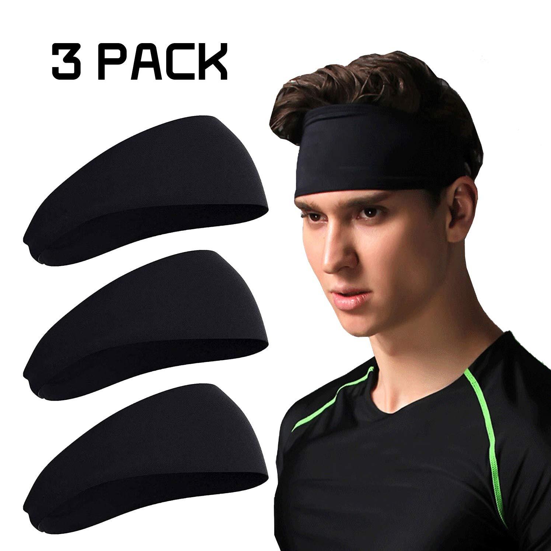 LOGIFOX Sports Fitness Headband with Unisex Running Sweat Bands 3 Pack Black Sweatband /& Sports Headband