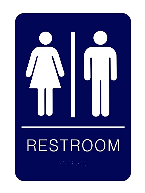 Bathroom Sign with Double Sided 3M Tape Unisex Braille Restroom Sign