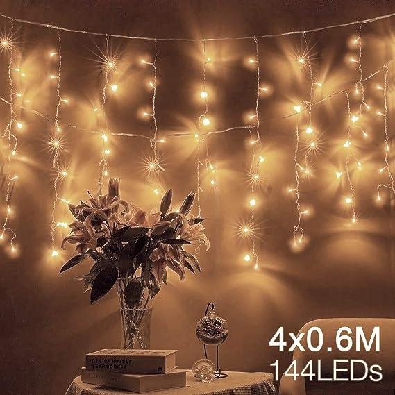 Quntis 4 m × 0,6 m 144 LED Lichterkette Lichtervorhang, Wasserfeste Fenster Lichterkette, Beleuchtung für Weihnachten, Party,