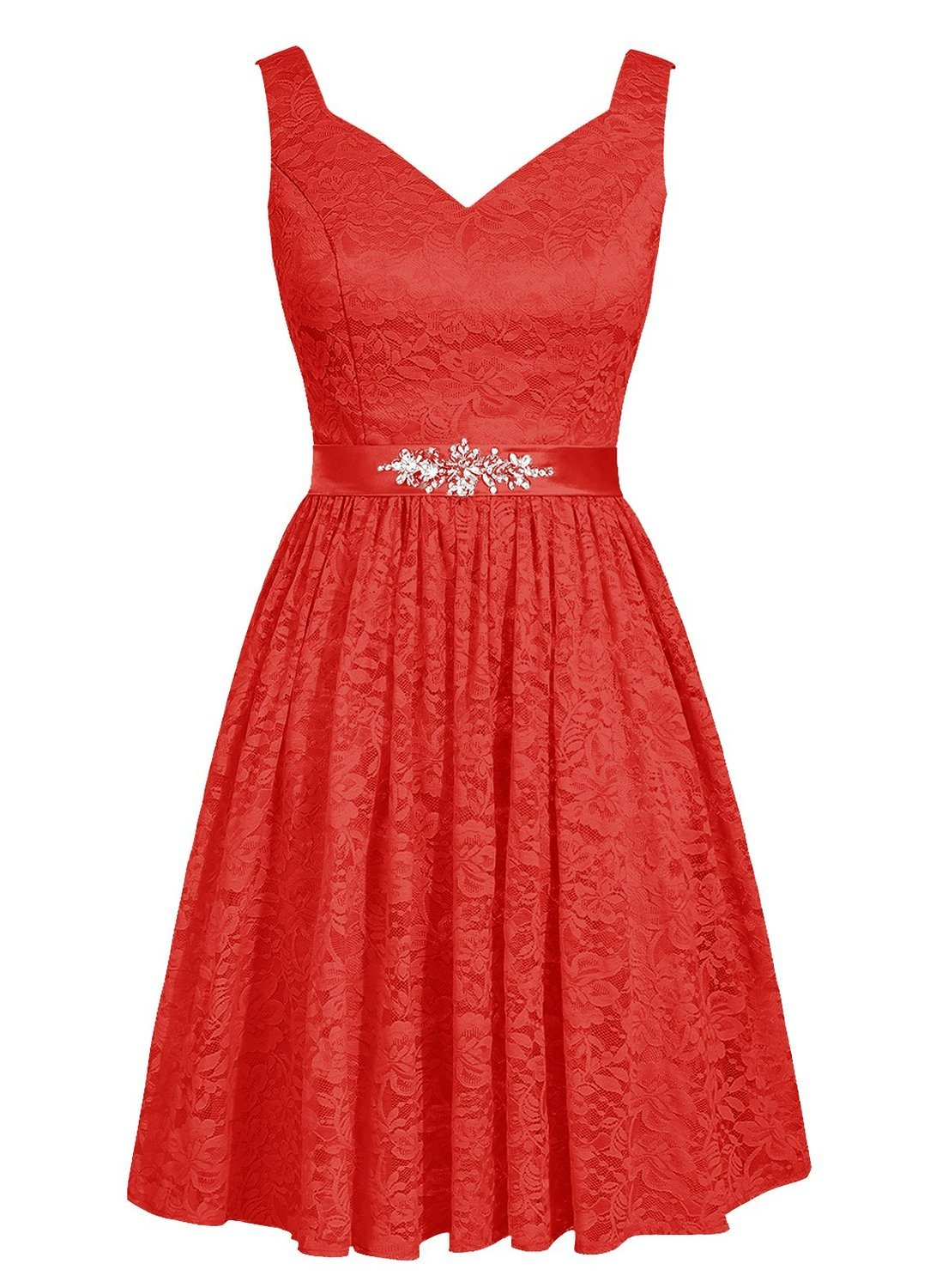 Angel Formal Dresses Women's V Neck Lace Bridesmaid Dresses Party Dress (20, Red)