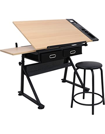 5fe6500a956 SUPER DEAL Drafting Desk Drawing Table Desk - Height Adjustable - Tiltable  Tabletop - Padded Stool