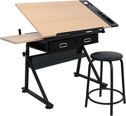 ZENY Height Adjustable Drafting Draft Desk Drawing Table