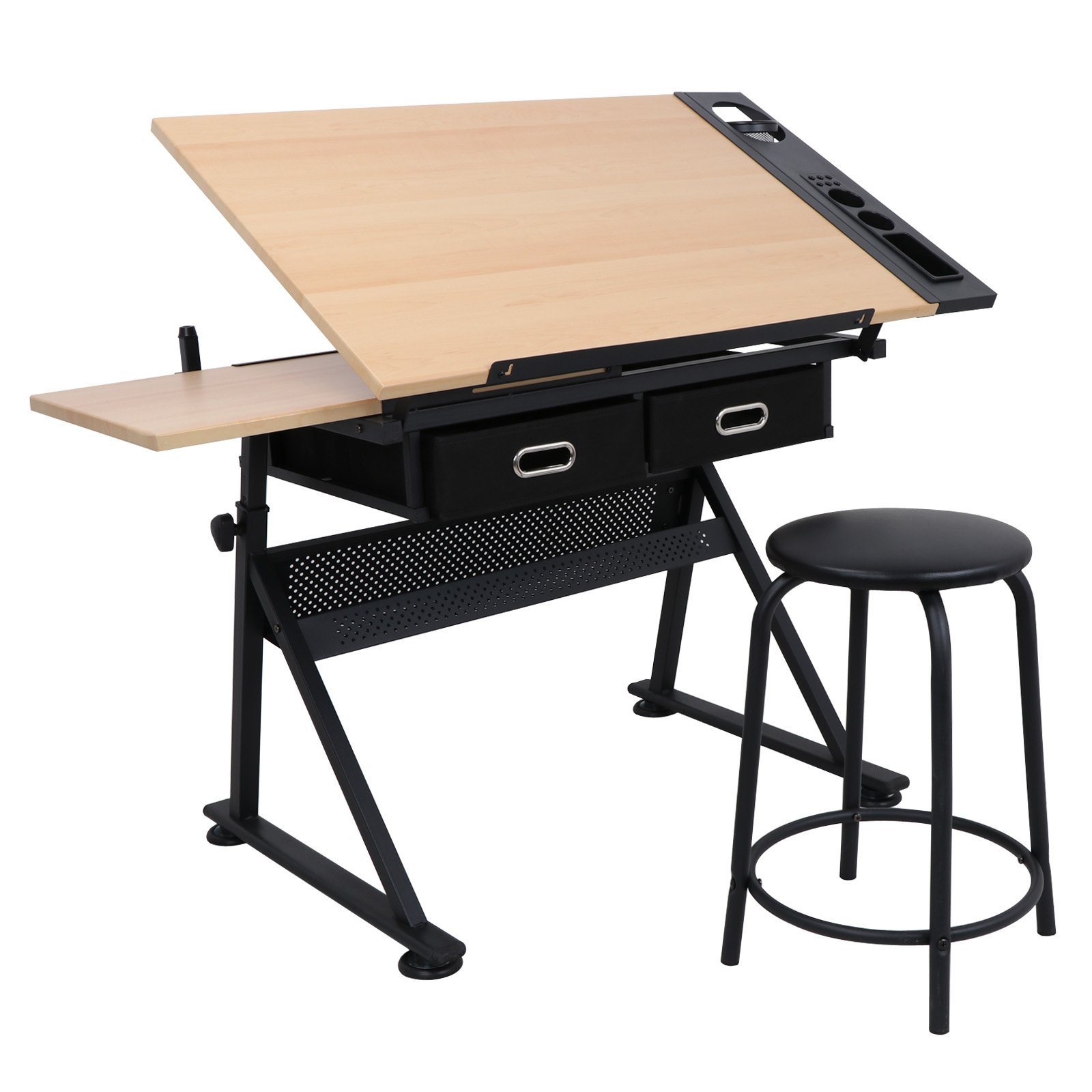 Smartxchoices 34 in Tiltable Drafting Desk Set Art Drawing Desk Height Adjustable Tabletop Writing Desk or Workstation w/ 3 Drawers and a Stool for Office and Home