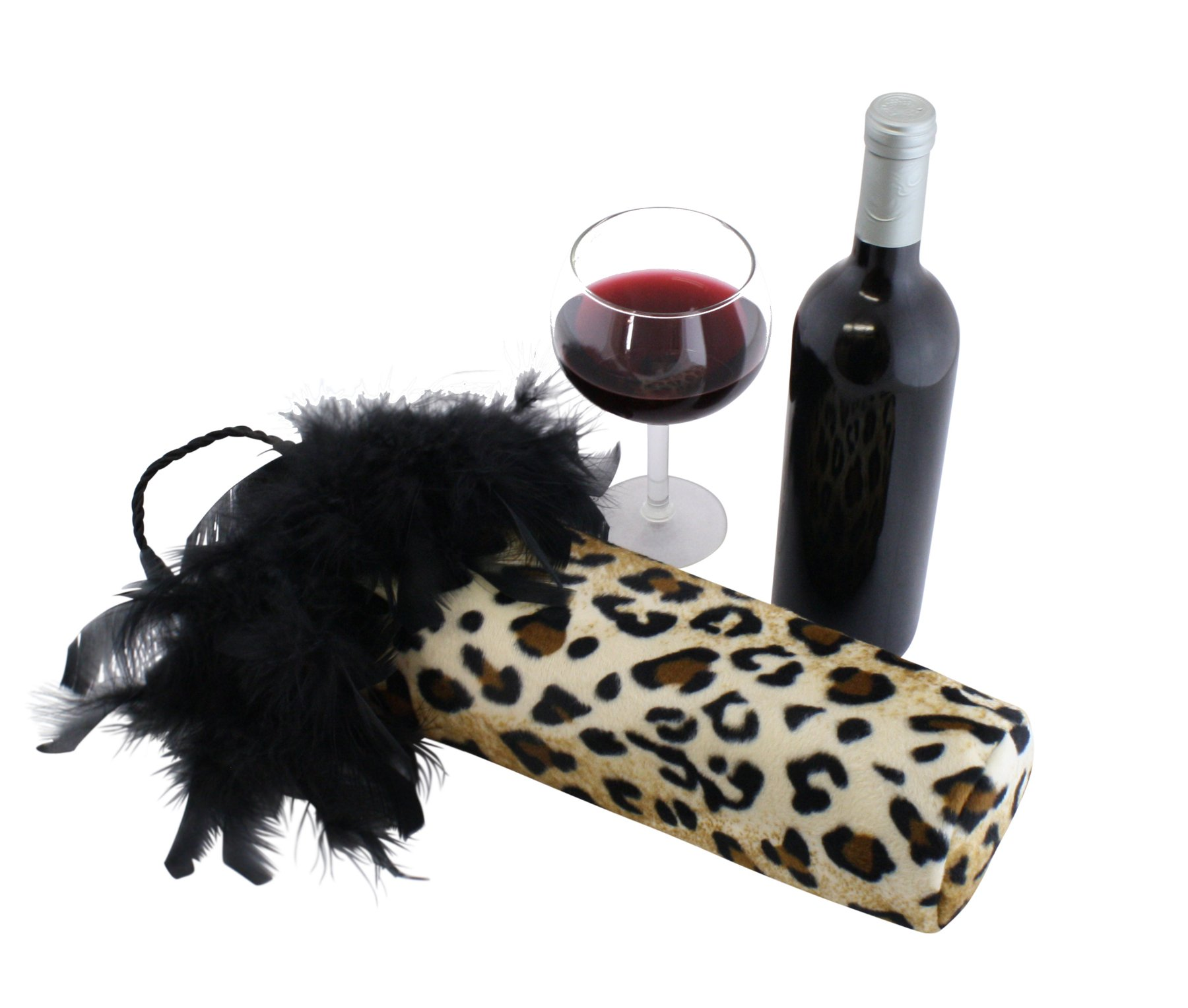 Cheetah Animal Print Fancy Wine Bags, Fur Wine Bottle Bags, Leopard Fabric Bottle Covers with Black Feathers - Cheetah Wine Accessories and Gifts - Perfect Wine Gifts for Women