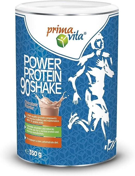 Primavita - Batido Proteína 90 con 5 fuentes complementarias de proteína, sabor a chocolate, 350 g (11-12 raciones)