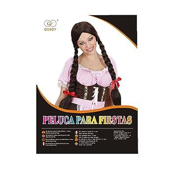 Ousdy Peluca de trenzas larga castaño 691794 - Marrón: Amazon.es: Juguetes y juegos