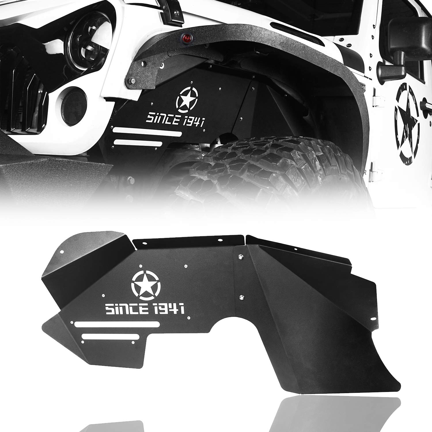 Hooke Road Front Inner Fender Liners w/Star Logo Compatible with Jeep Wrangler JK & Unlimited 2007-2018 Sport Sahara Rubicon 2/4 Doors