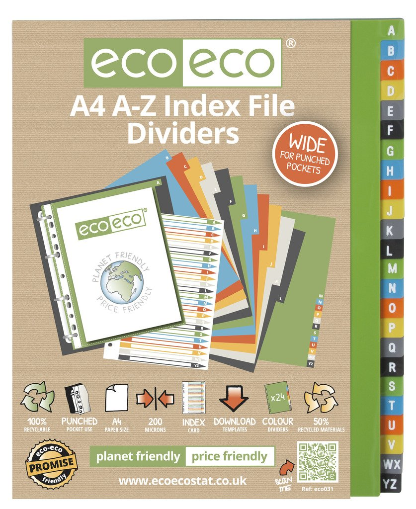 1 Set x 24pk eco-eco A4 50% Recycled AZ Wide Index File Plastic Dividers