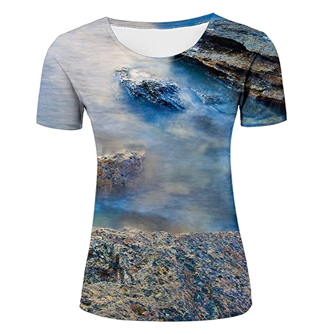 05b20255ae4 Amazon.com  All Over Print 3D Printed Blue Ocean Tops T-Shirt Short Sleeve  Printed Rock Tshirts Hot-Shirts For Men Women Unisex  Clothing