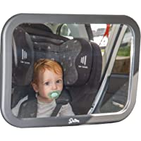 Baby Backseat Mirror for Car (Fully Assembled) 100% Lifetime Satisfaction Guarantee - Cling On Sunshades Plus Baby on Board Sign. View Infant in Rear Facing Car Seat - Best Newborn Safety With Secure Headrest Double-Strap