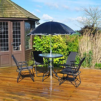 e69e5f96ab Kingfisher 6 pièces terrasse Ensemble de Salle à Manger - 4 Places  extérieur Meubles de Jardin
