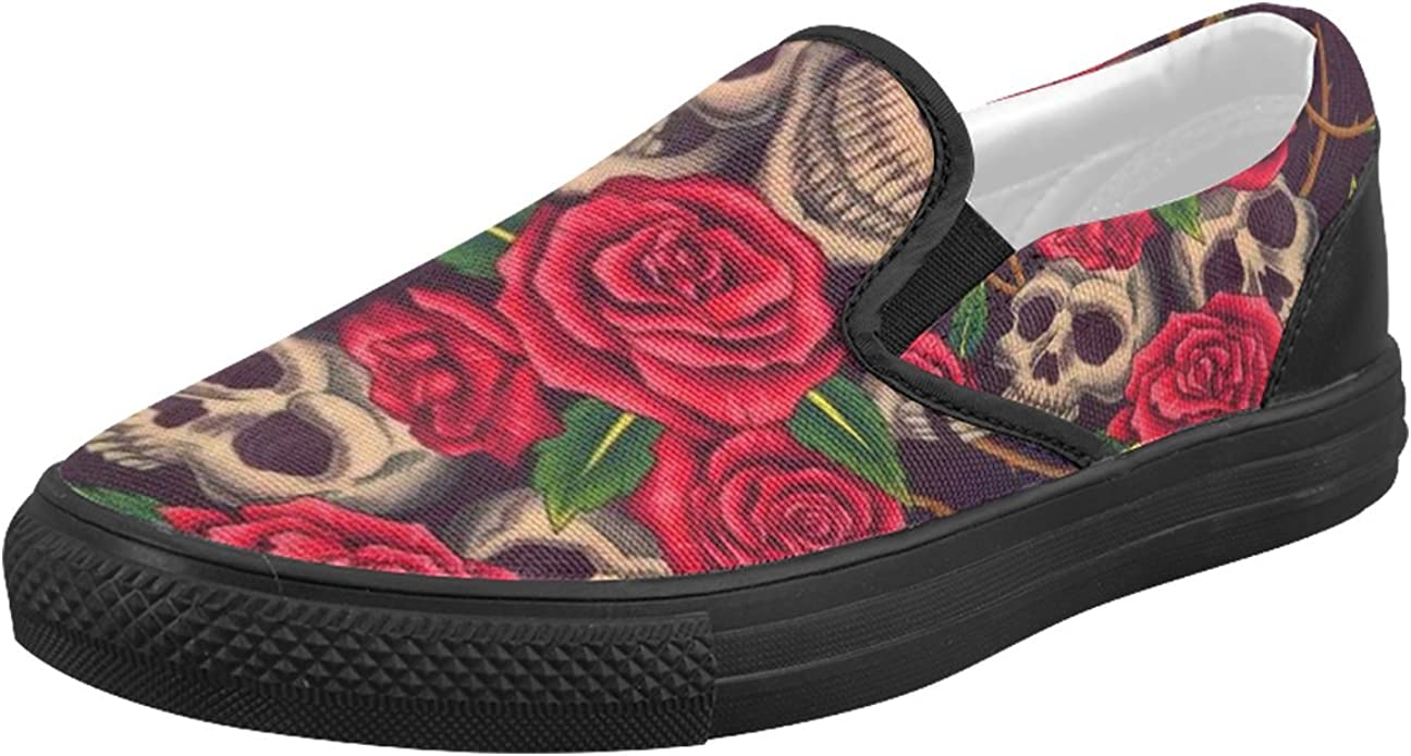 InterestPrint Womens Loafers Classic Casual Canvas Slip On Fashion Shoes Sneakers Mary Jane Flat