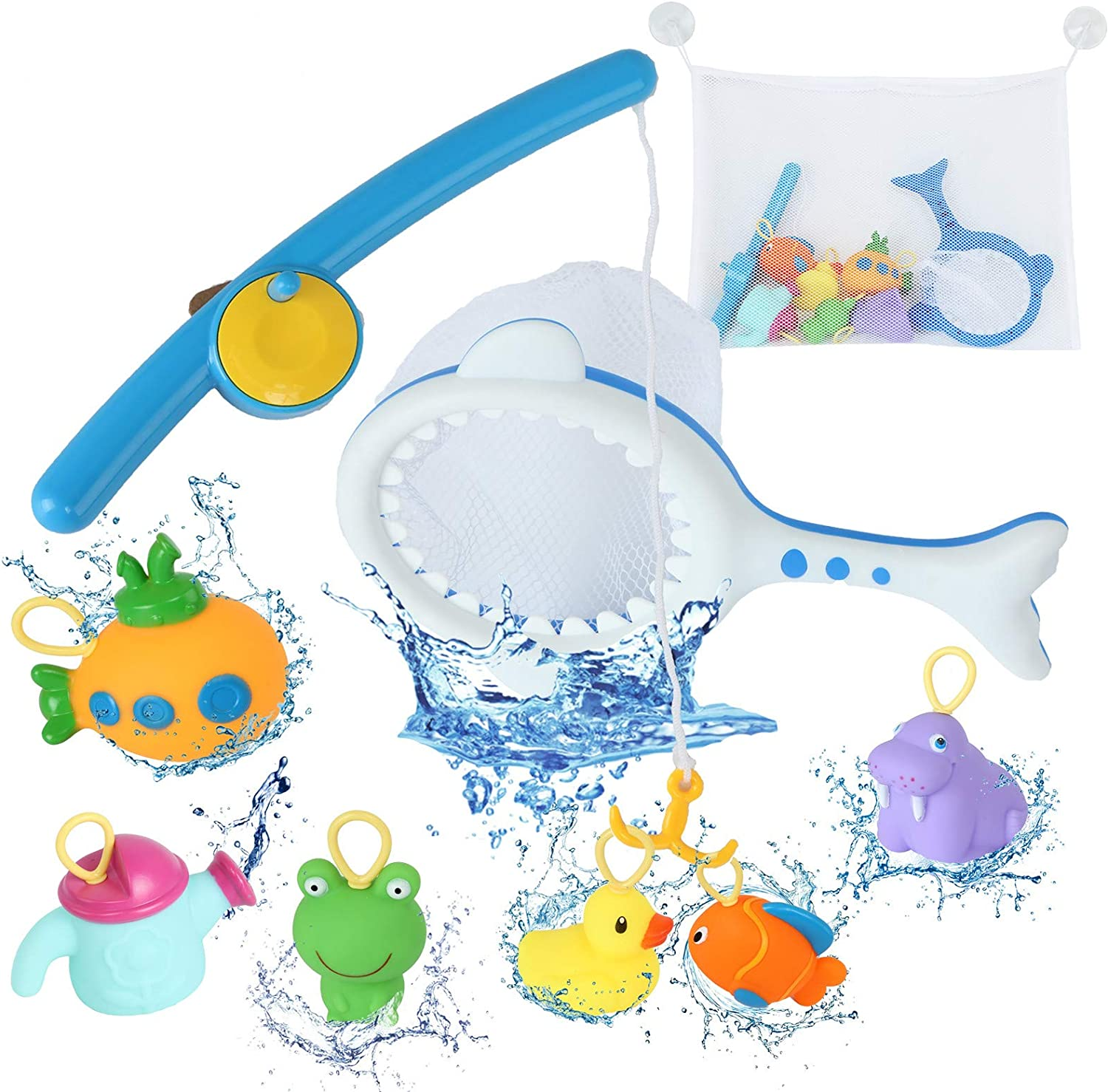 Baby Swimming Pool Toy Squirt Water Toy for Bathtub Pool with Fishing Net /& Storage Bag Erlsig Fishing Bath Toy
