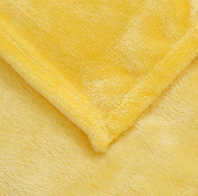 Solid Flannel Plush Throw Blankets Nattey COMIN18JU041420 Full, Yellow Bed Blanket Twin Full Queen Size