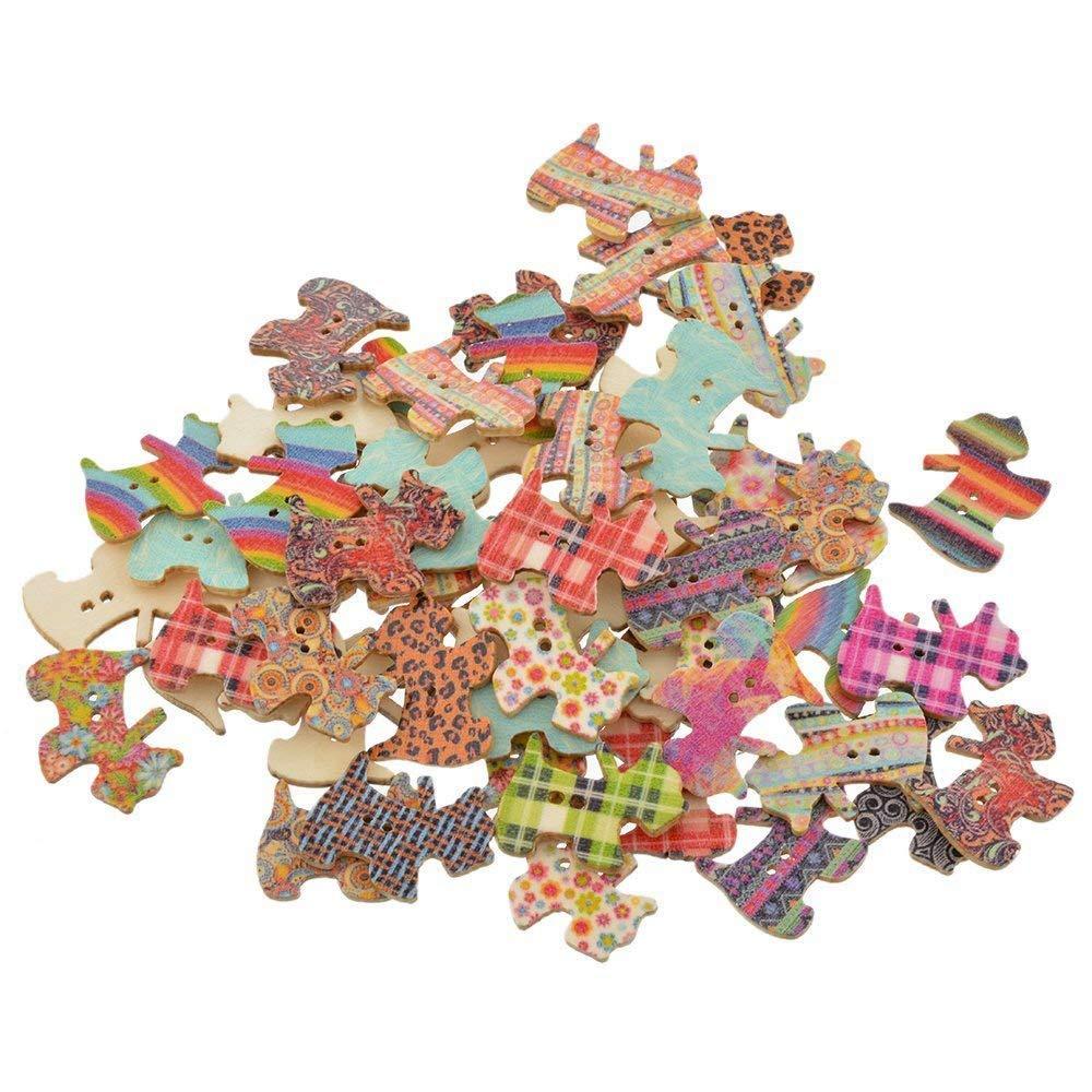 Moligh doll Bottoni di Legno di Legno a Forma di Cane Casuali Misti per Il Pacchetto di Cucito di Cucito di 100pcs