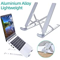 Aluminium Alloy Laptop Stand Ohuhu Foldable Adjustable Height Portable Laptop Stands Holder Universal Ergonomic Travel Mini Ventilated Notebook Stand for MacBook Notebook Computer PC iPad Tablet
