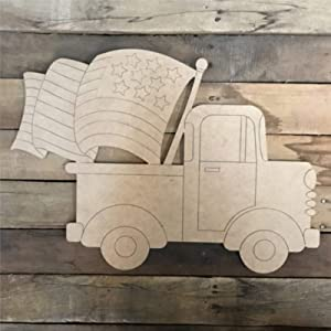 Old Style Truck with American Flag Wood Craft,Unfinished Wooden Cutout Art,Inspirational Farmhouse Wall Plaque,Rustic Home Decor for Living Room,Nursery,Bedroom,Porch,Gallery Wall
