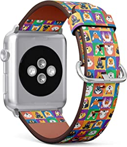 Compatible with Apple Watch Series 5, 4, 3, 2, 1 (Small Version 38/40 mm) Leather Wristband Bracelet Replacement Accessory Band + Adapters - Dogs