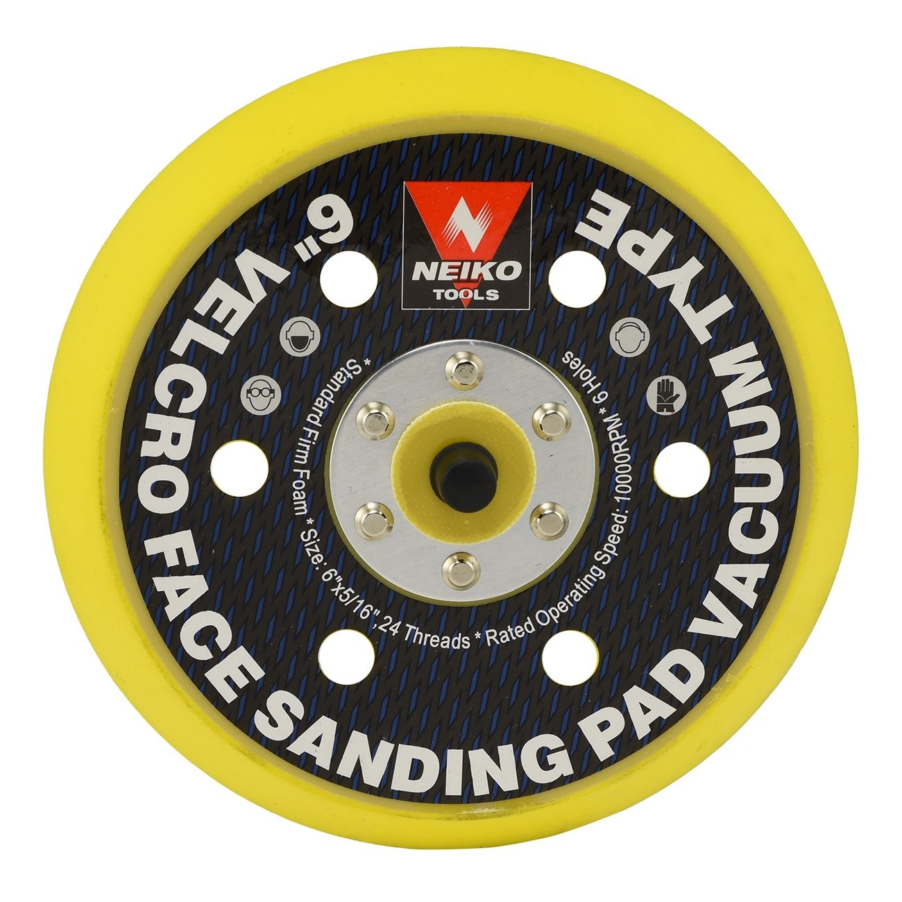 Neiko 30265A Velcro Face Sanding Pad 6-inch Multi-hole Vacuum Type for Dual Action Orbital Air Sander Ridgerock Tools Inc.