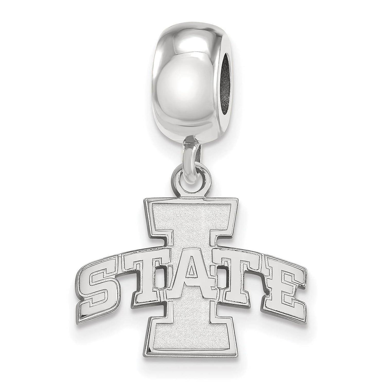 925 Sterling Silver Rhodium-plated Laser-cut Iowa State University Small Dangle Bead Charm