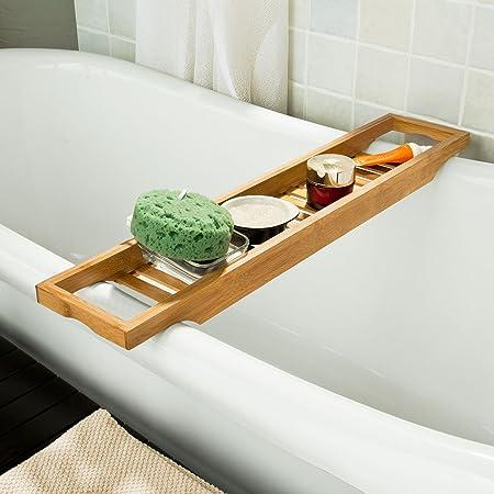 SoBuy® 100% Bamboo Bathtub Rack, Bathtub Tray, Bath Shower Rack ...