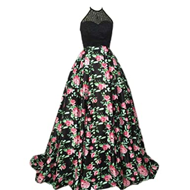 Kivary Beaded Halter Black A Line Floral Print Long Formal Prom Dresses Evening Party Gowns at Amazon Womens Clothing store: