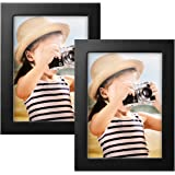 Ideolco 2 PACK Picture Frame 5x7 Black Photo Frame Picture - Made of Solid Wood and Acrylic HD plexiglass to Display Pictures 4x6 with Mat or 5x7 Without Mat for Set Wall and Desktop Display