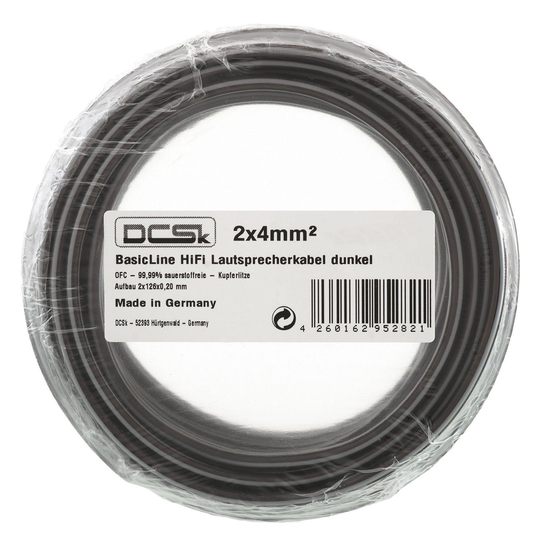 Câble d'Enceinte Noir Transparent DCSk 30m - 2 x 4mm² | câble en cuivre OFC pour HiFi/Audio | câble de boîtier 99, 99% cuivre avec Isolation 30-40-25ND