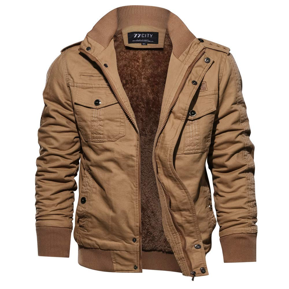 fec21d3d451 Galleon - Corriere Plus Size Thickened Military Jacket Coats For Men Fall  Winter Casual Zipper Warm Outerwear Tops