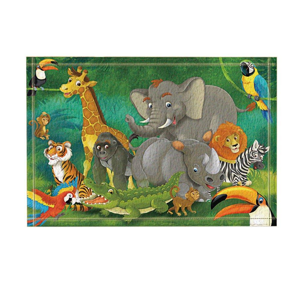 KOTOM Safari Wild Animal for Kids Decor, Elephants and Giraffes Family in Forest Bath Rugs, Non-Slip Doormat Floor Entryways Indoor Front Door Mat, Kids Bath Mat, 15.7x23.6in, Bathroom Accessories