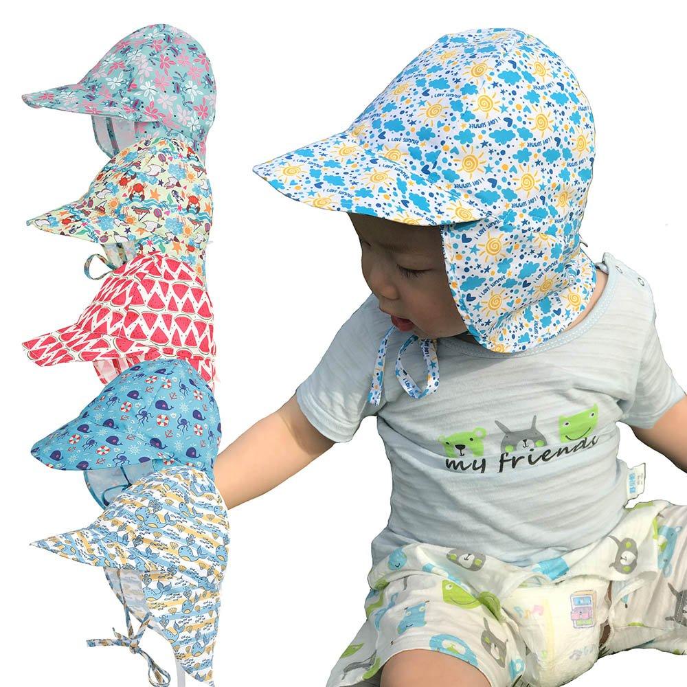 Baby Toddler Kids Sun Hat UV Protection Beach Swim Hats Neck Flap ... d1bb8124af9