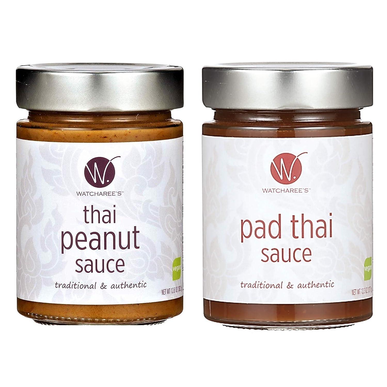 Amazon Com Watcharee S Thai Peanut Pad Thai Sauce Vegan Authentic Traditional Thai Recipe 2pk Combo Jars Grocery Gourmet Food