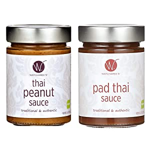 WATCHAREE'S Thai Peanut & Pad Thai Sauce   Vegan   Authentic Traditional Thai Recipe   2pk Combo Jars